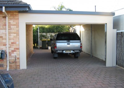 Dual car covered in carport with Colorbond facia and side covering Paperbark and Deep Ocean Warradale