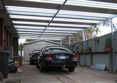 Flat roof carport with polycarb skylights solasafe and C section frame Christie Downs