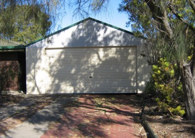 Gable roof carport, 25 degree pitch, Stucco gable ends, Cottage green flashing Reynella