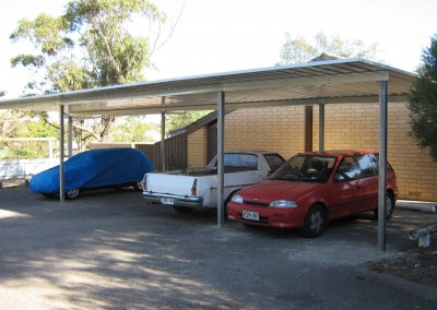 Multiple Colorbond cars carport, Zincalume, Port Noarlunga South