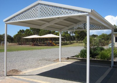 Standalone single car carport with paved brick floor Surfmist Seaford