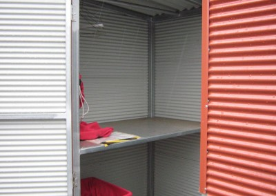 Terracotta storage shed, outdoor closet, built in shelving Seacombe Gardens 1