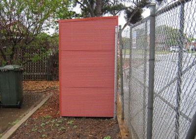 Terracotta storage shed, outdoor closet, horizontally clad with corrugated Colorbond Seacombe Gardens2