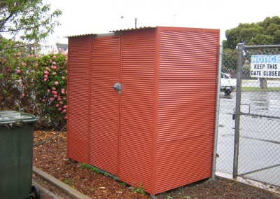 Terracotta storage shed, outdoor closet, horizontally clad with corrugated Colorbond Seacombe Gardens3